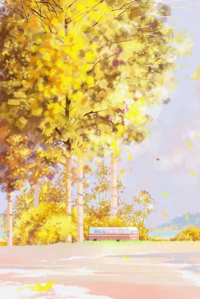 autumn scenery fall landscape autumn day illustration image