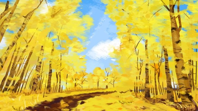 autumn scenery hello in october late autumn fall, Ginkgo, Beautiful, Landscape illustration image