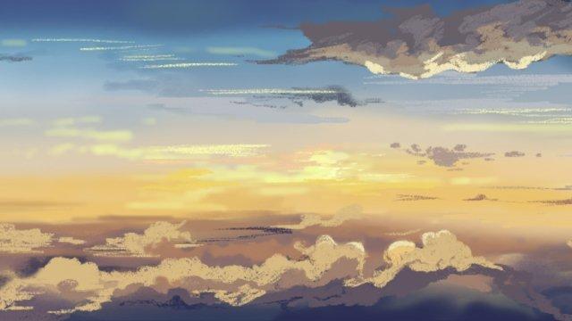 autumn sky sunset hand drawn style, Illustration, Autumn, Sky illustration image