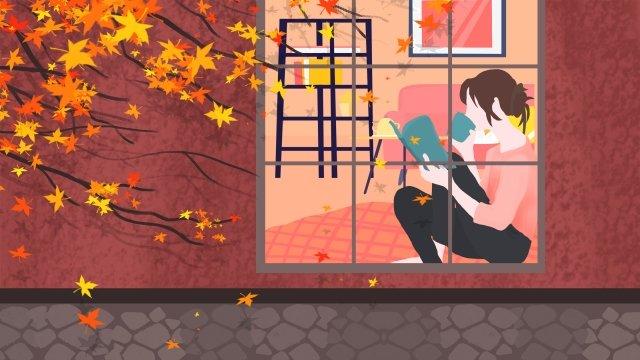 एक किताब पढ़ने वाली खिड़की की लड़की द्वारा शरद ऋतु फुसफुसाई चित्रण छवि चित्रण छवि