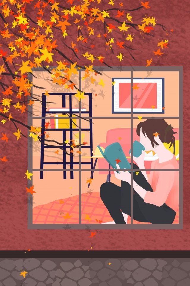 本を読んでウィンドウの女の子によって秋のささやき イラスト素材 イラスト画像
