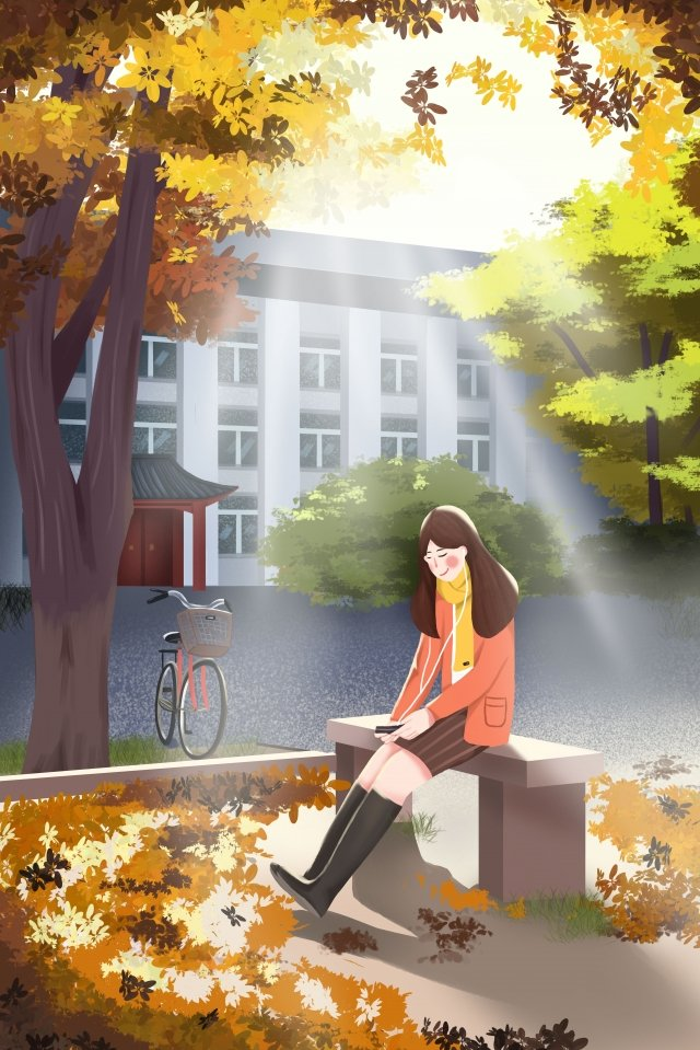 autumn whispers girl girls in the sun fall llustration image