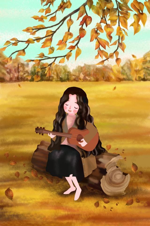 शरद ऋतु फुसफुसाते हुए छाया लड़की के नीचे गिटार लड़की खेल रहा है चित्रण छवि
