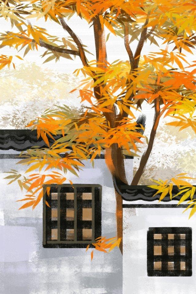 秋風秋季景觀秋季秋季 插畫素材 插畫圖片