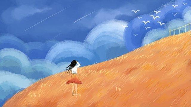 autumn wind fall blue sky white clouds, Autumnal, Golden Autumn, Landscape illustration image