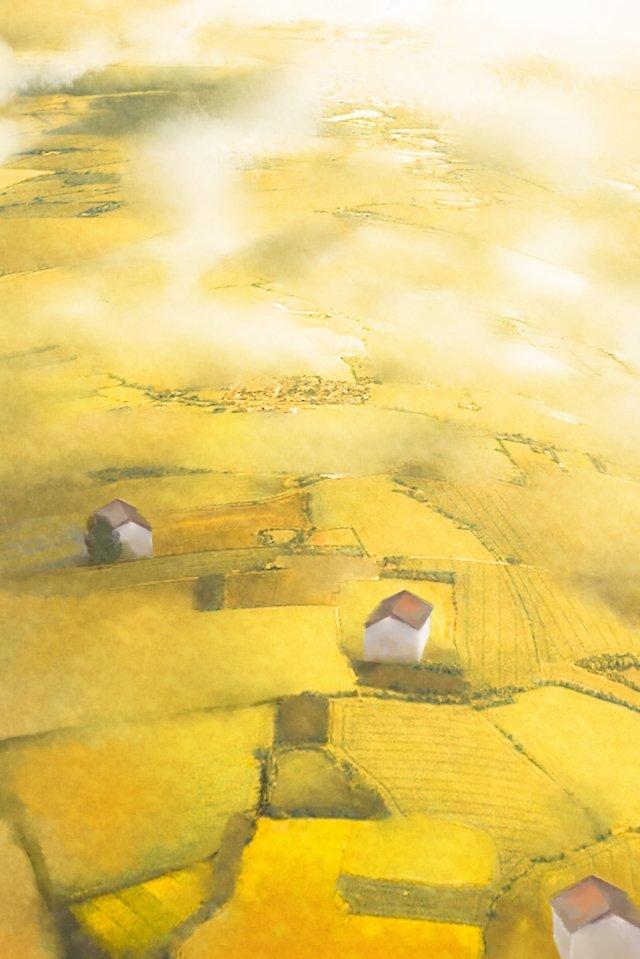 紅葉空撮村麦畑 イラストレーション画像
