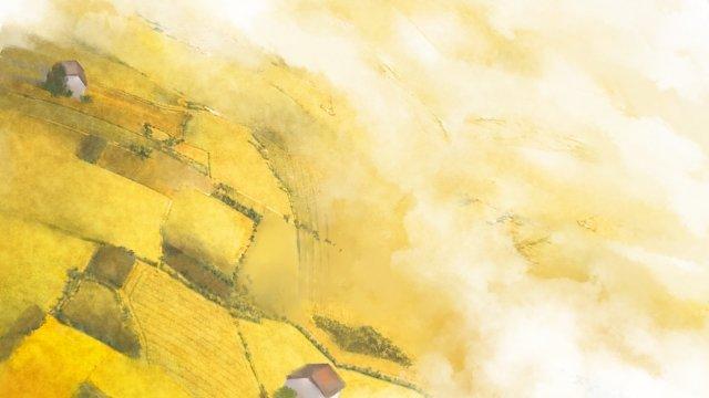 紅葉空撮村麦畑 イラスト素材 イラスト画像