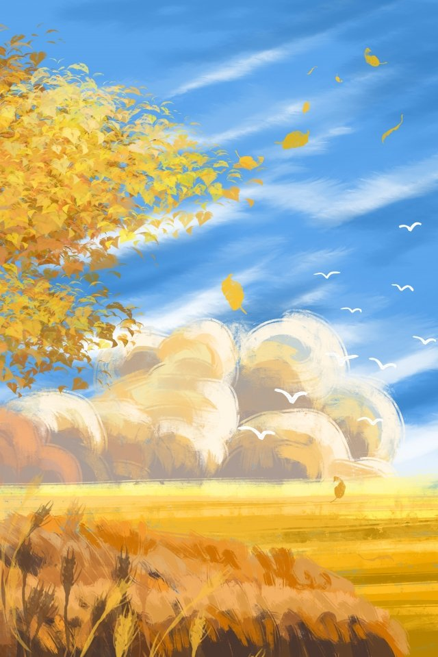 autumnal autumn blue sky white clouds, Wheat Field, Golden Autumn, Illustration illustration image