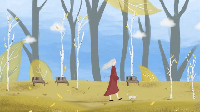 오색 가을 손으로 그려진 창조적 인 그림 가을을 즐기십시오 가을 춘분의 분위기 삽화 소재