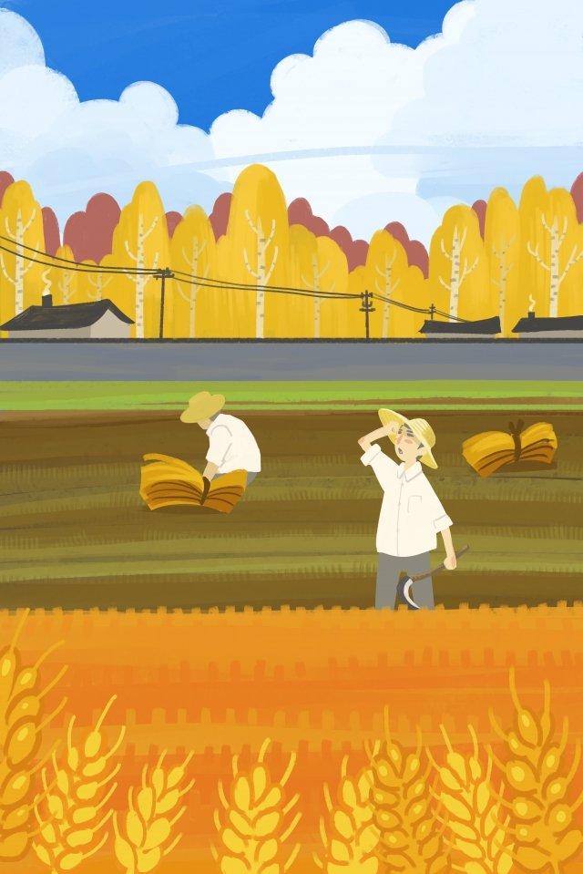 秋季秋季秋季農田 插畫素材 插畫圖片