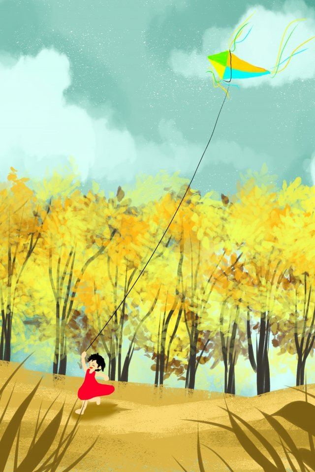 autumnal fall autumn twenty-four solar terms, Chinese Festival, Traditional Festival, Girl illustration image