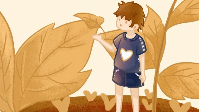 autumnal fall flying fallen leaves, Boy, Illustration, Autumnal illustration image