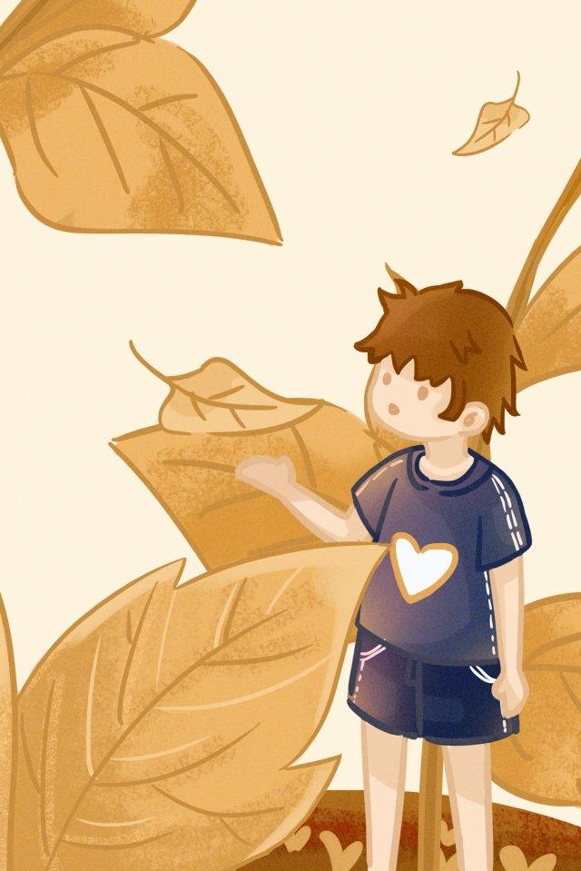 autumnal fall flying fallen leaves, Boy, Illustration, Autumnal illustration image