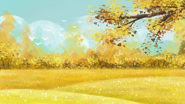 autumnal fall golden autumn autumn color, Autumn Scenery, Blue Sky, White Clouds illustration image