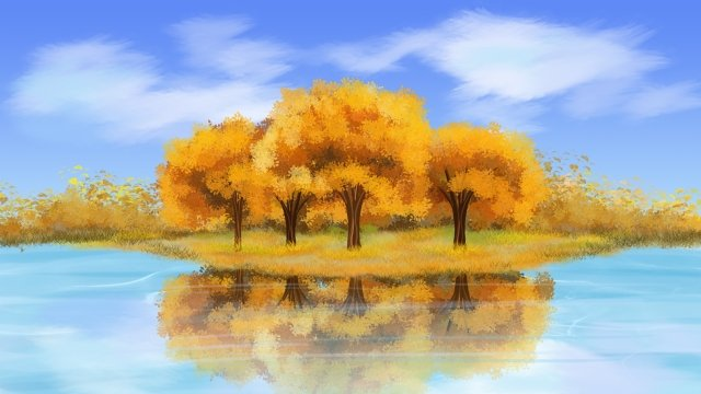 autumnal fall landscape solar terms, Autumn Landscape, Fallen Leaves, Forest illustration image