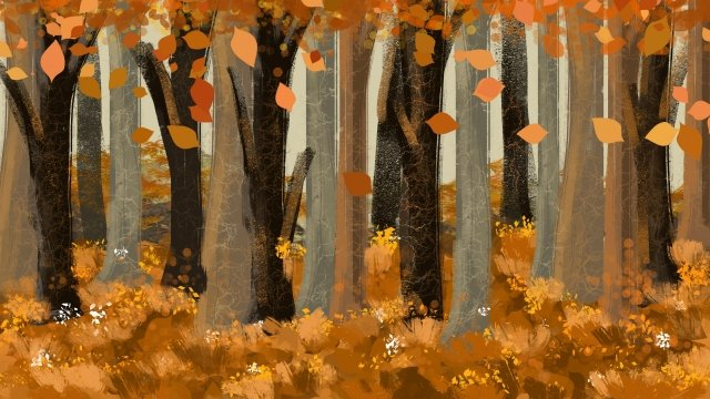autumnal fall solar terms autumn landscape, Fallen Leaves, Forest, Jungle illustration image