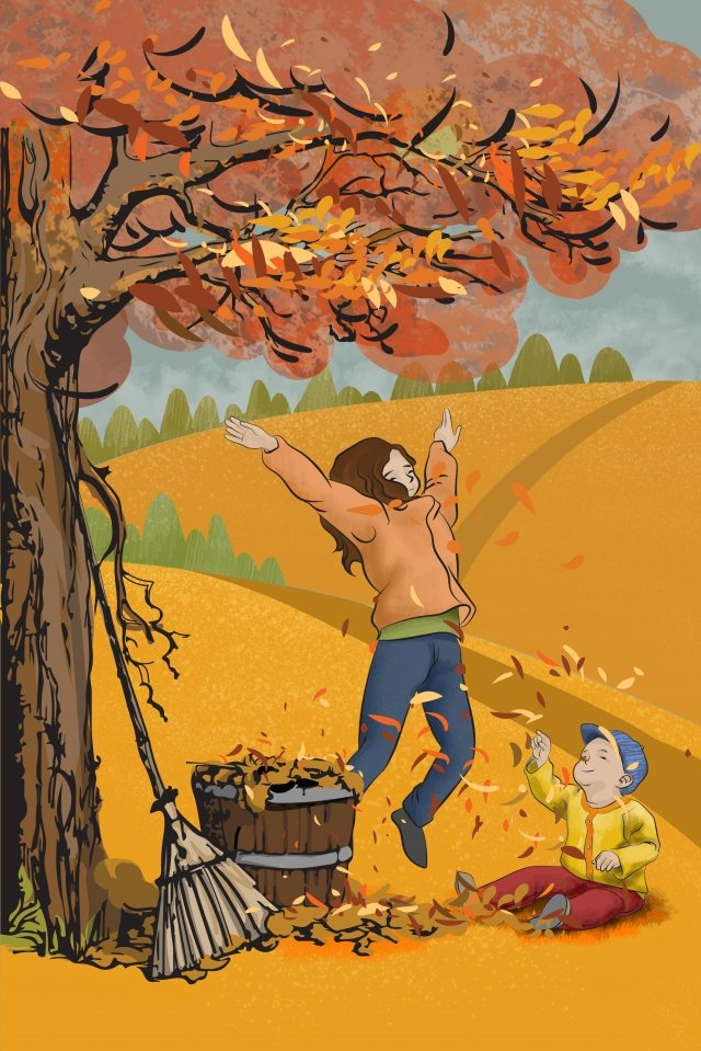 autumnal fallen leaves playmate rural, Illustration, Hand Painted, Autumnal illustration image