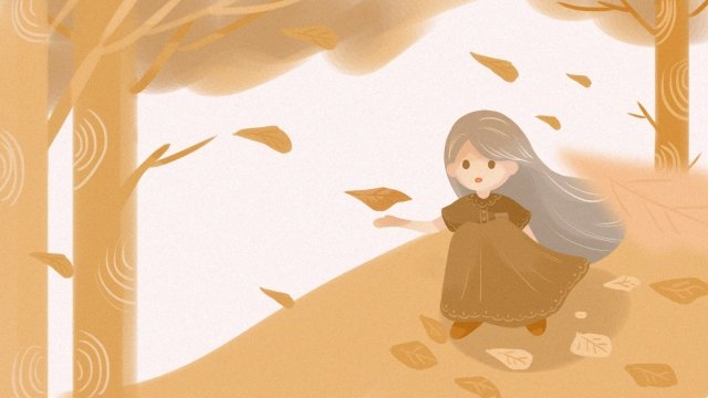 autumnal flying fallen leaves fall, Girl, Illustration, Autumnal illustration image