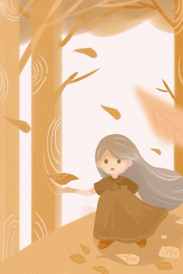 autumnal flying fallen leaves fall, Girl, Illustration, Autumnal illustration image