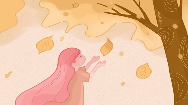 autumnal flying fallen leaves orange, Little Girl, Illustrator Style, Autumnal illustration image