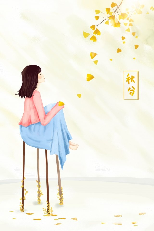 秋のイチョウ落下女の子ルックアップ イラスト画像