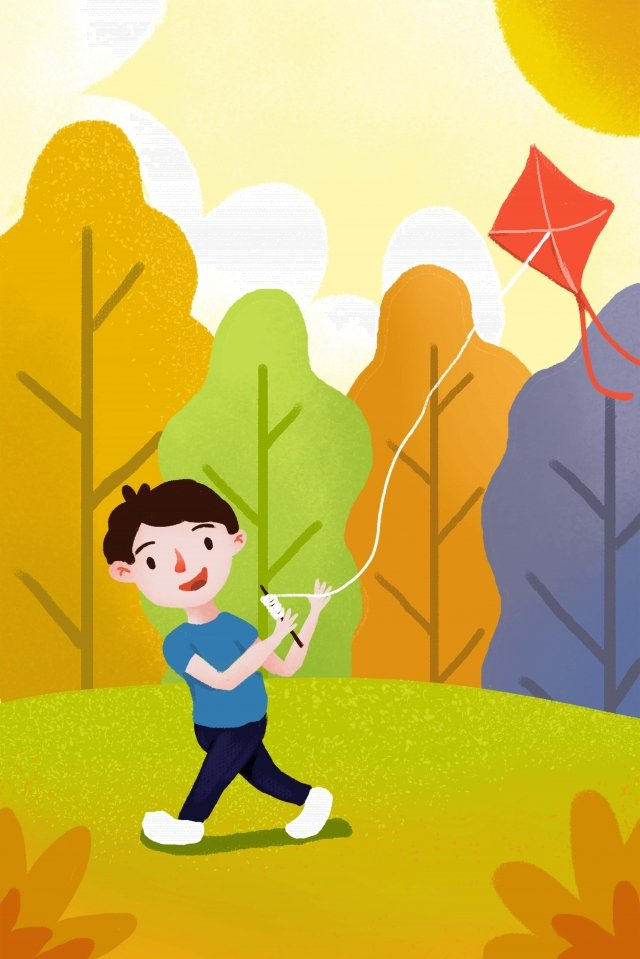 autumnal kite fly a kite illustration, Solar Terms, Twenty-four Solar Terms, Autumnal illustration image