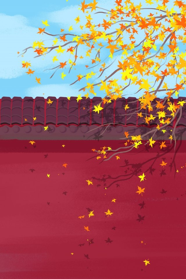 autumnal red wall maple leaf yellow leaf, Red Wall, Chinese Style, Solar Terms illustration image