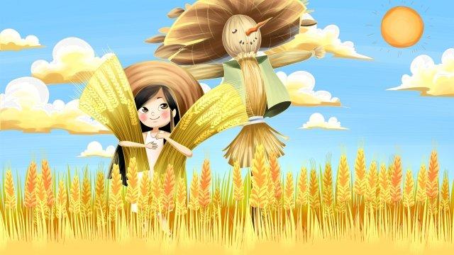 秋の24太陽用語かかし小さな女の子 イラスト素材
