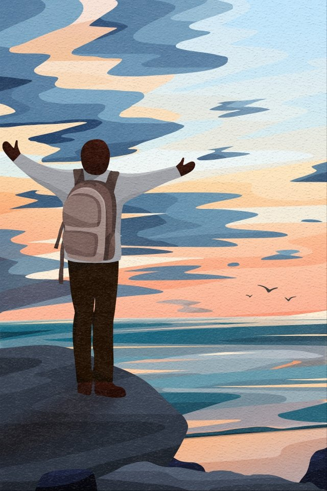 back view sky and landscape backpacker traveler embrace, Open Hands, Reef, Seagull illustration image