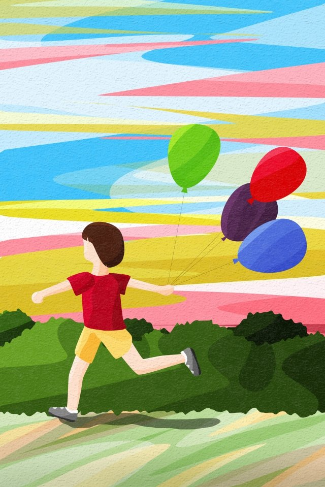 back view sky and landscape child child colorful balloons, Run, Shrub, Happy illustration image