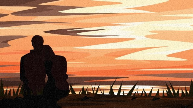 back view sky and landscape couple silhouette rely grassland llustration image illustration image