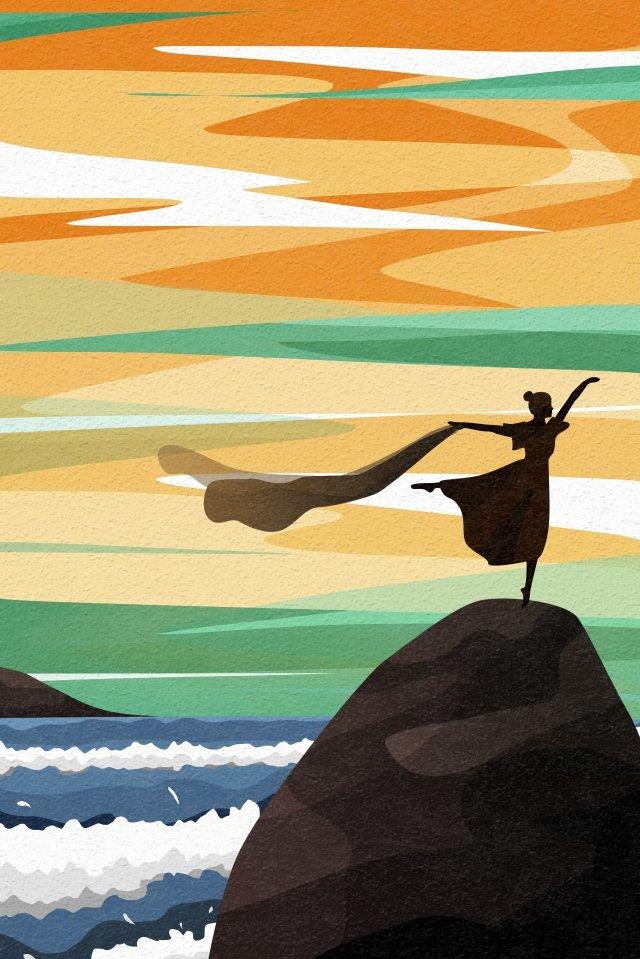 背面図空と風景ダンス人々ダンスリボンリーフ イラスト素材