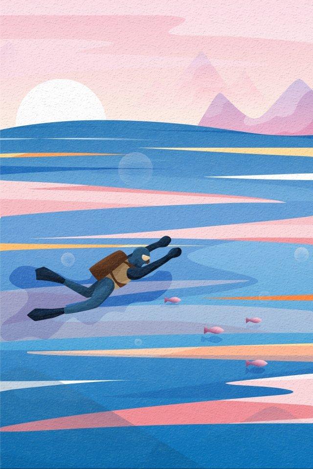 背面図空と風景ダイビングダイバー水面 イラスト素材