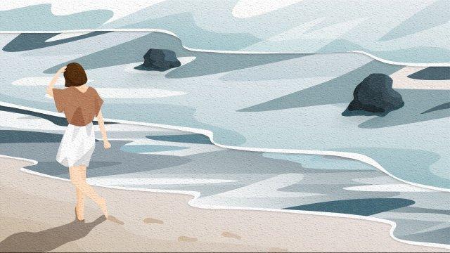 xem lại bầu trời và phong cảnh bãi biển cô gái Hình minh họa Hình minh họa