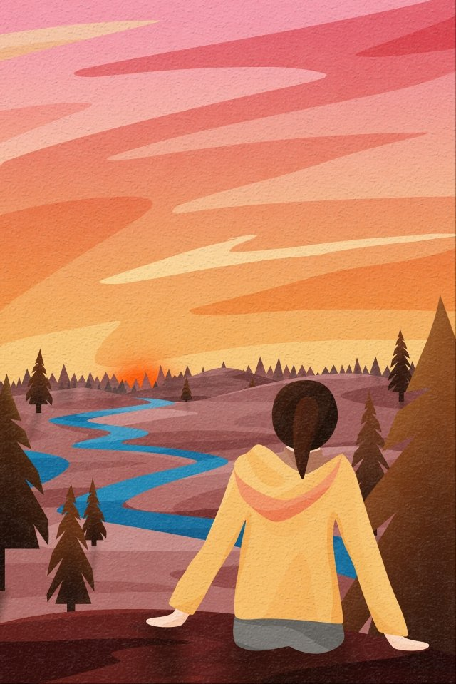 back view sky and landscape girl back view sunset sunset, Far Mountain, Trees, Pine illustration image