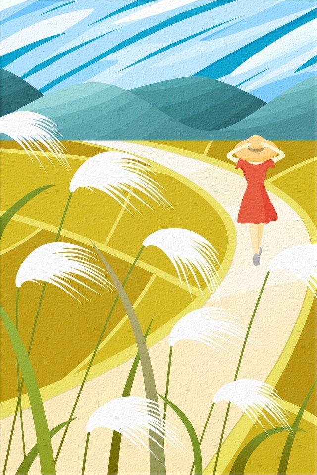 田舎道を歩いて背面ビュー空と風景の女の子の帽子 イラスト素材 イラスト画像