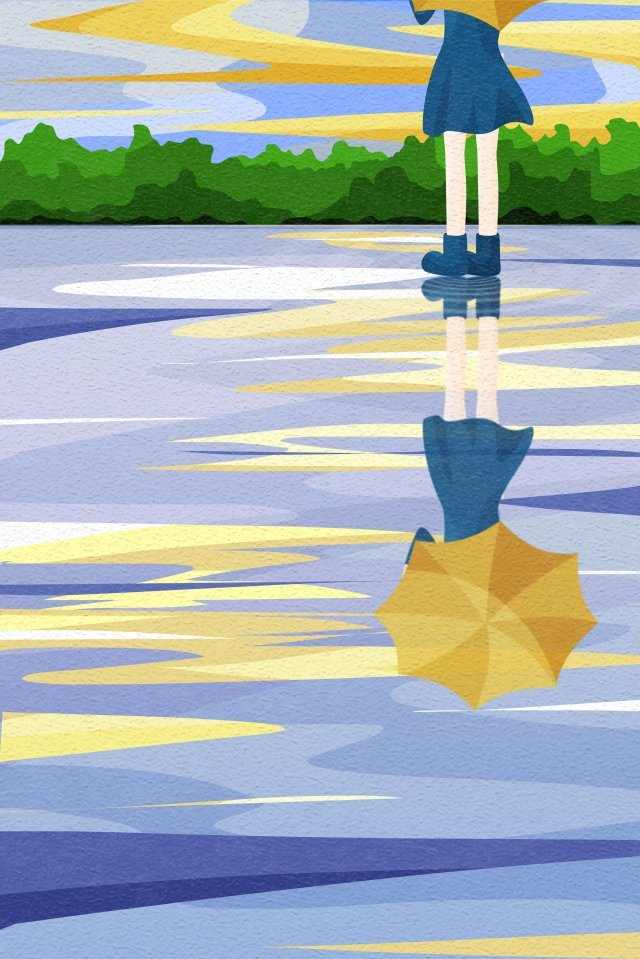back view sky and landscape girl umbrella umbrella, Yellow Umbrella, Reflection, Water Surface illustration image