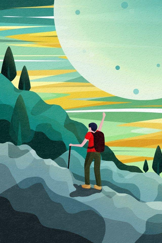 बैक व्यू स्काई और लैंडस्केप हाइकर बैकपैकर पर्वतारोहण चित्रण छवि चित्रण छवि