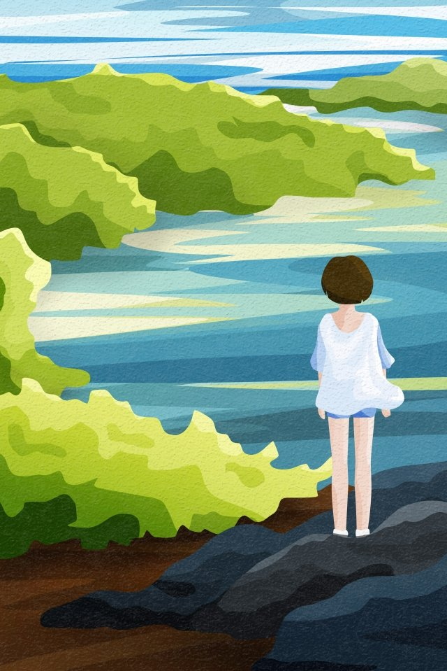 back view sky and landscape lakeside river trees, Grove, Short Hair Girl, Stone illustration image