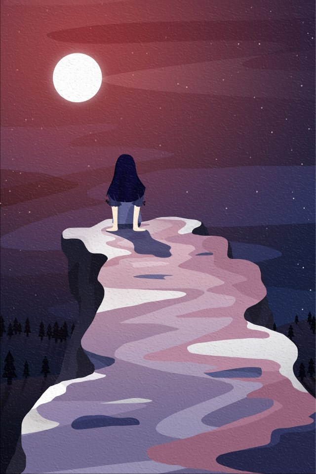 back view sky and landscape little girl back view red, Moonlight, Moon, Cliff illustration image
