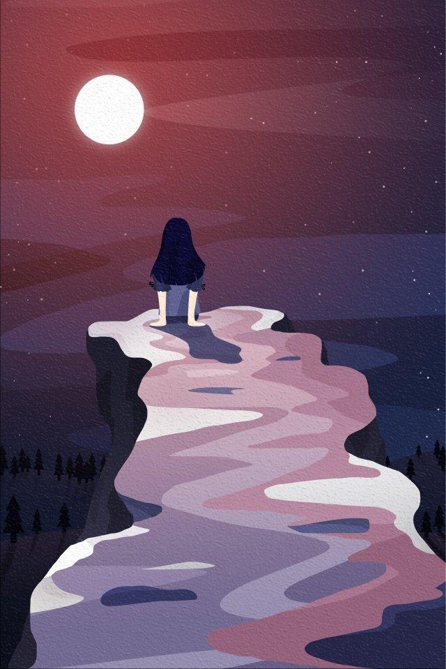 belakang pandangan langit dan pemandangan gadis kecil kembali melihat merah imej ilustrasi