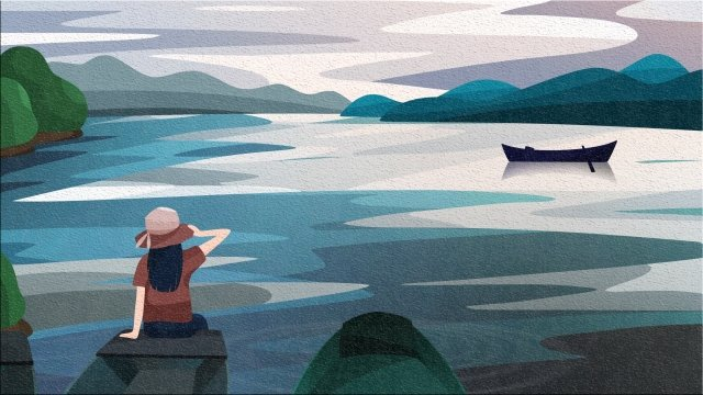back view sky and landscape little girl holding a hat back view sitting at the bow, Ferry, River Surface, Lake Surface illustration image