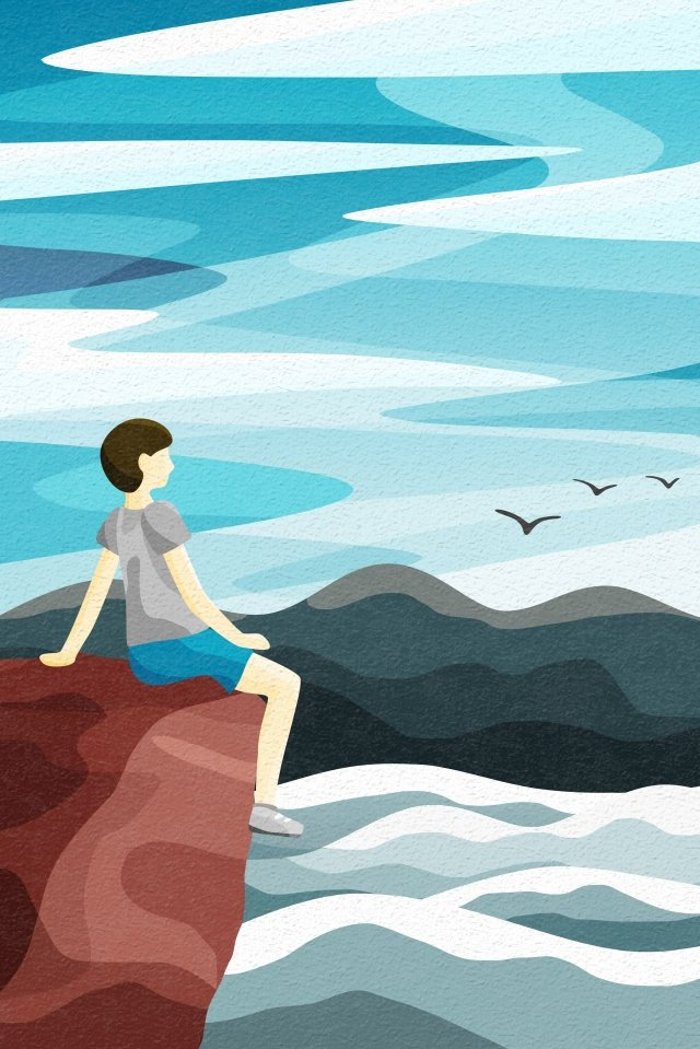 後視圖天空和景觀礁看風景海邊 插畫素材