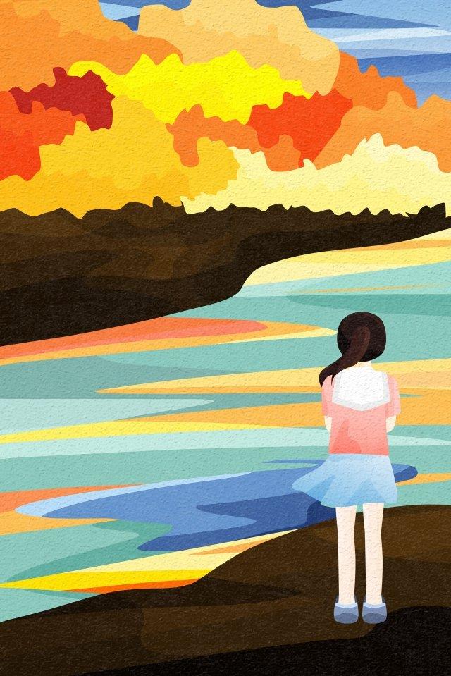背面図空と風景川沿い海岸カエデの森 イラスト素材