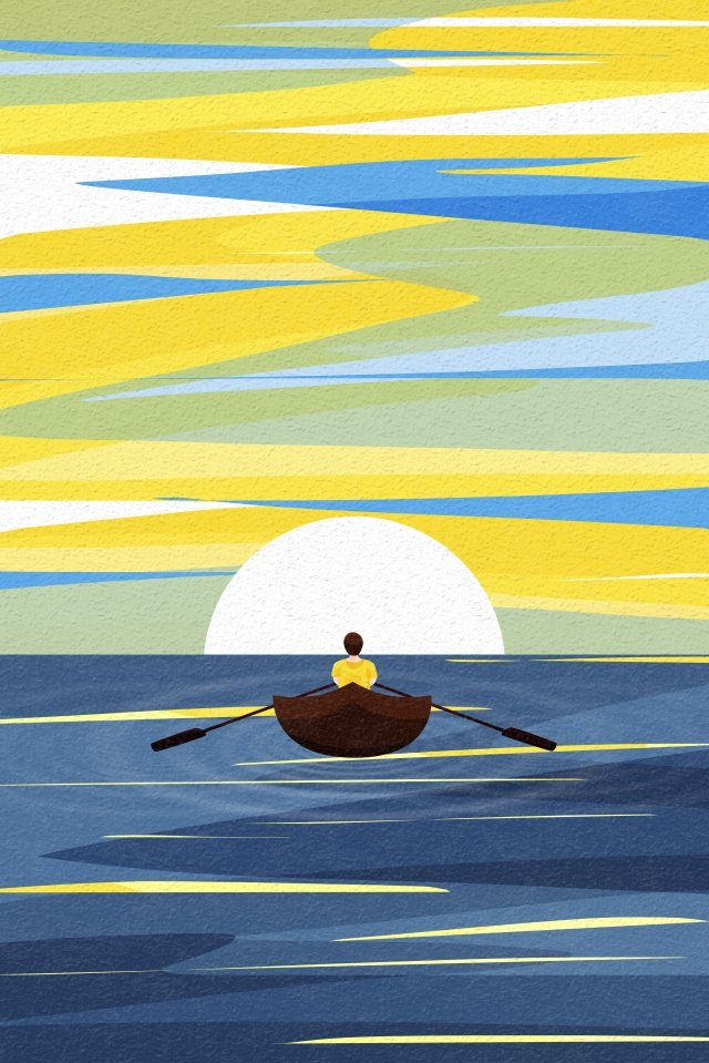 back view sky and landscape rowing person ferry paddle llustration image