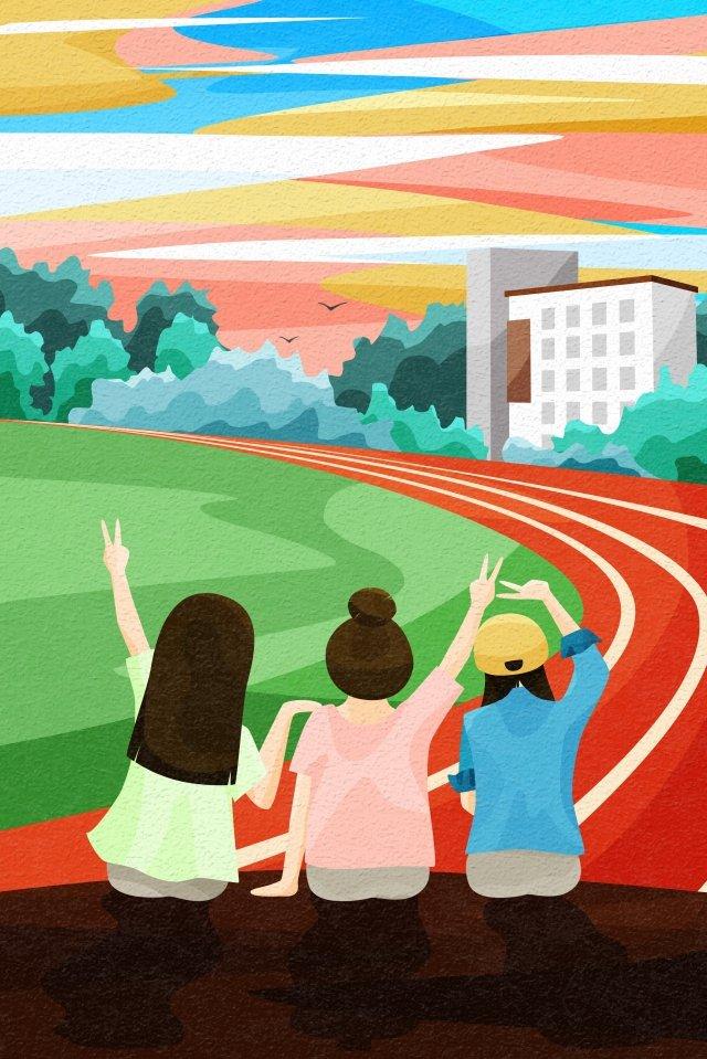 背面図空と風景学校遊び場卒業 イラスト素材 イラスト画像