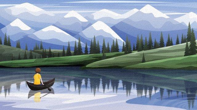 背面図空と風景雪山湖ボート イラスト素材