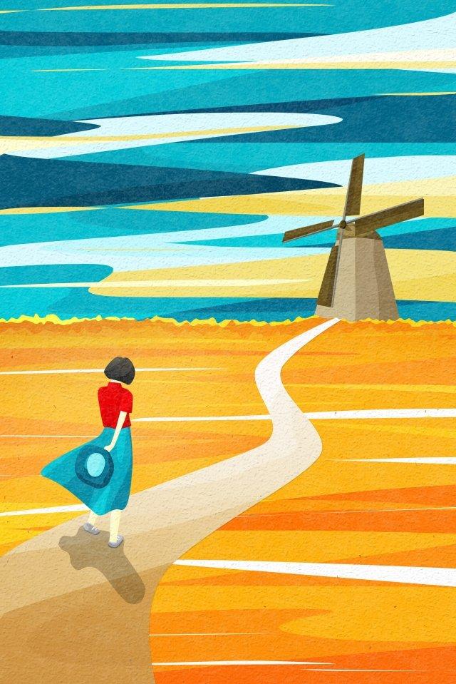 बैक व्यू स्काई और लैंडस्केप पवनचक्की गेहूं का खेत क्षेत्र पथ चित्रण छवि चित्रण छवि