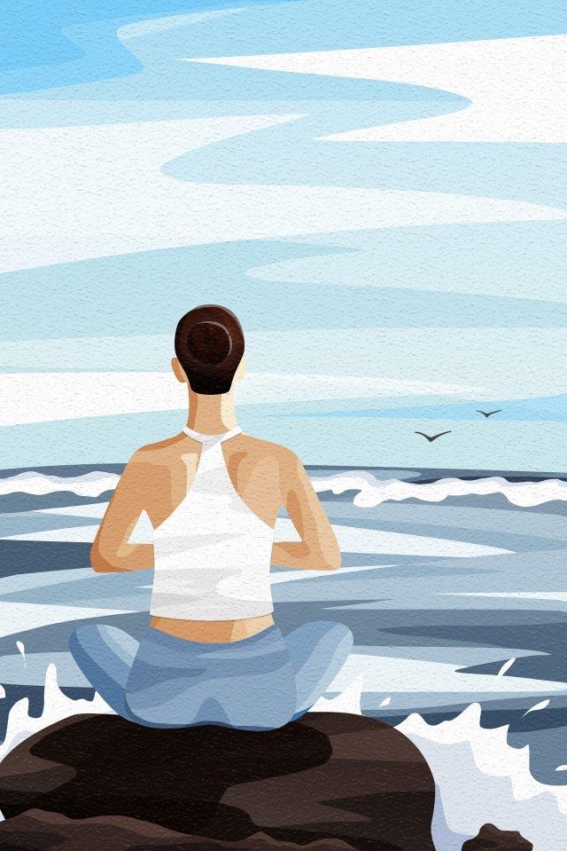 背面図空と風景のヨガ女性背面図 イラスト素材 イラスト画像