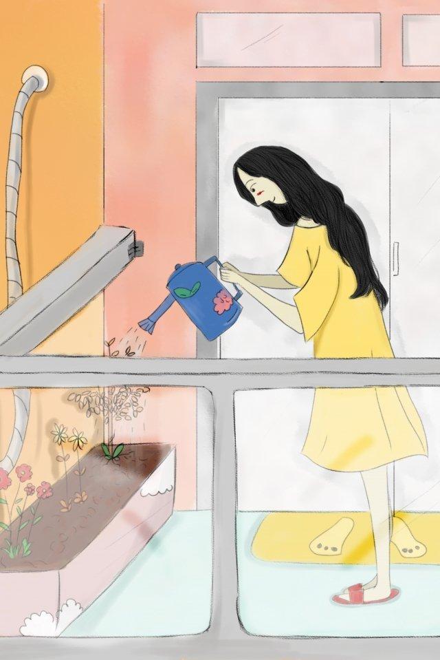 バルコニーの女の子の花の水やり鉢植えの植物 イラストレーション画像
